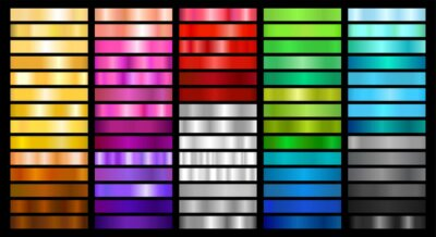 Fototapeta Metal and Color Gradient Collection of Swatches