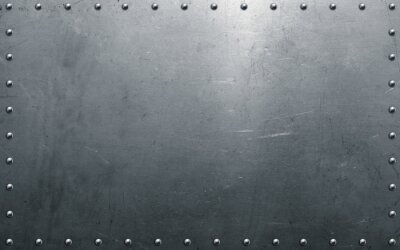 Fototapeta Metal background with rivets, polished steel texture