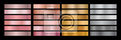 Fototapeta Metal Gradient Collection of Rose Gold, Golden and Silver Swatches