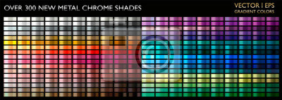 Fototapeta Metal gradient color set. Chrome texture surface background template for screen, mobile, digital, web. Metallic and chromium shade combination. Gold, silver, bronze colorful palette collection.