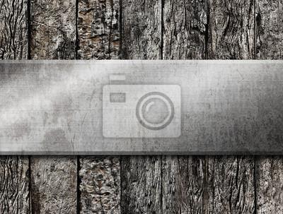 Metal na tle drewna