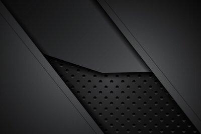 Fototapeta metal plate black and shadow line on steel mesh. template modern technology design background. vector illustration
