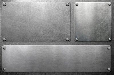 Fototapeta Metal plates on steel background