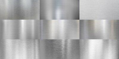 Fototapeta Metal textures brushed or polished aluminum set