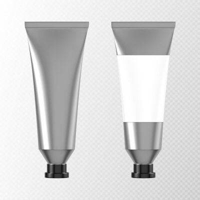 Fototapeta Metal tube for hand cream or paints 3d mockup front view, aluminium or silver colored packaging with blank label and black cap. Cosmetics product, glue or toothpaste pack, Realistic vector mock up