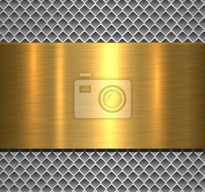 Fototapeta Metallic background silver polished gold texture over perforated background
