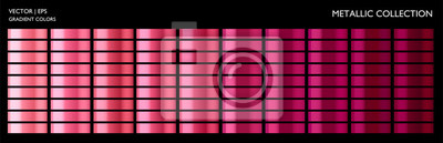 Fototapeta Metallic rose, pink gradient set. Colorful palette and texture background template for screen, mobile, banner, label, tag.