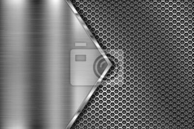 Fototapeta Metalowa perforowana tekstura 3d z trójkątem ze szczotkowanego żelaza
