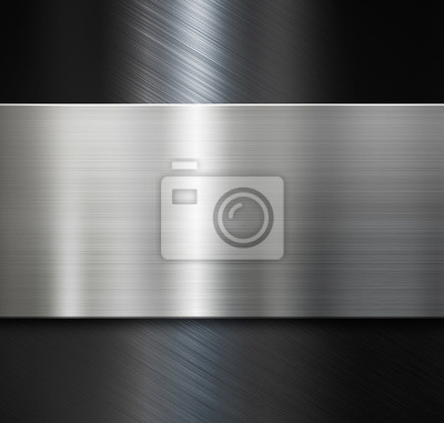 Fototapeta metalowa płytka na czarnym tle metalicznego satynowej