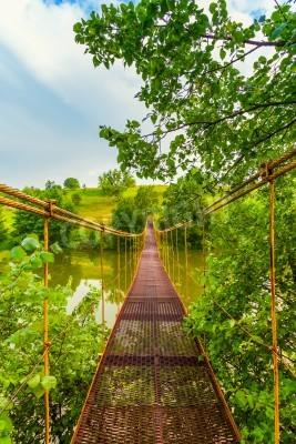 Fototapeta metalowy most wiszący nad rzeką