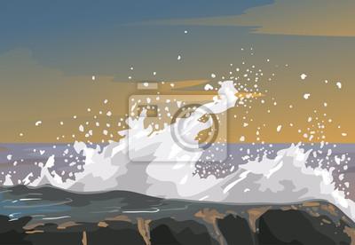 Fototapeta Metaphor Rough Emotion Wave On Rocks Illustration