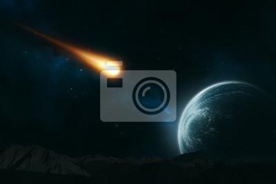 Fototapeta Meteor rzucając w stronę planety
