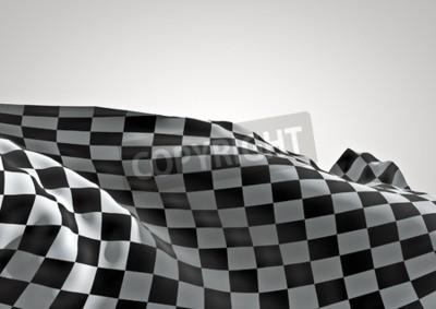 Fototapeta Mety 3D czynią z flagą z szachownicą