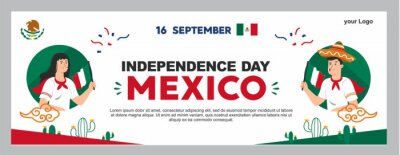 Fototapeta mexican independence day illustration, september 16th poster for background. viva mexico