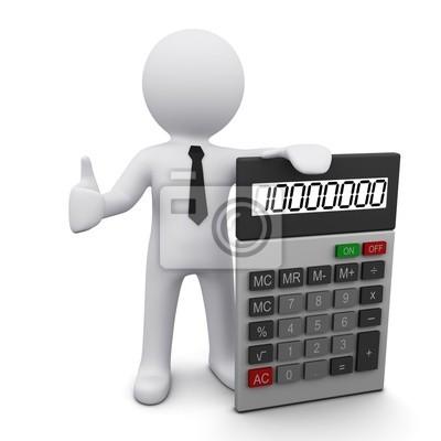 Fototapeta Mężczyzna 3D z kalkulatora