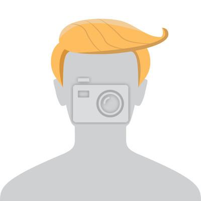Fototapeta Mężczyzna Avatar Domyślnie zastępczy. Funny Osoba Z Długimi pomarańczowymi włosami. Profil Szary obrazu samodzielnie na białym tle projekt. ilustracji wektorowych