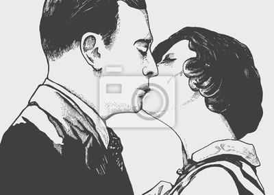 Fototapeta Mężczyzna i kobieta całuje jak w czarno białym filmie retro o miłości