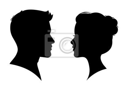 Fototapeta Mężczyzna i kobieta sylwetka twarz w twarz - wektor