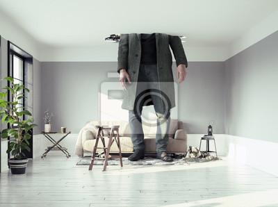 Fototapeta mężczyzna, przełamując sufit