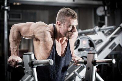 Fototapeta Mężczyzna w siłowni wykonywania na dip