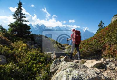 Fototapeta Mężczyzna wycieczkuje na sławnej wycieczce turysycznej du Mont Blanc blisko Chamonix, Francja.