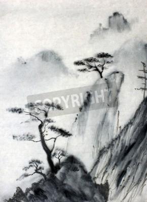 Fototapeta Mgliste Góry i sosny nieba