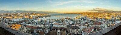 Fototapeta Miasto i panorama jeziora Genewa, Szwajcaria