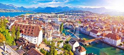 Fototapeta Miasto Luzern panoramiczny powietrzny zmierzch mgiełki widok