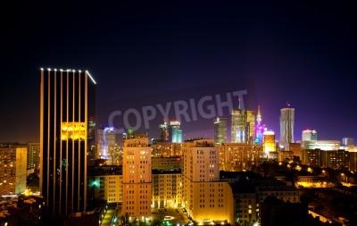 Fototapeta Miasto Warszawa Polska w nocy