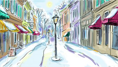 Fototapeta Miasto zima - ilustracji