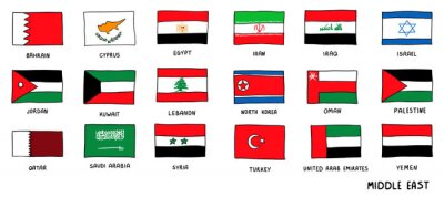 Fototapeta Middle East Countries national Flags Hand Drawn. Sketch style Vector doodle illustration