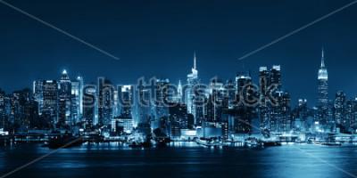 Fototapeta Midtown Manhattan skyline w czerni i bieli o zmierzchu panorama nad hudson