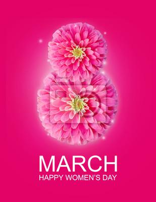 Fototapeta Międzynarodowy Dzień Kobiet w dniu marca, 8 tła z pozdrowieniami z kwiatów płatek numer 8
