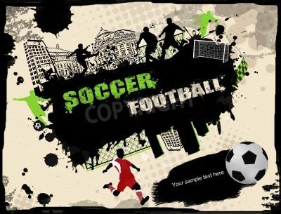 Fototapeta Miejskich grunge piłki nożnej tle, ilustracji wektorowych