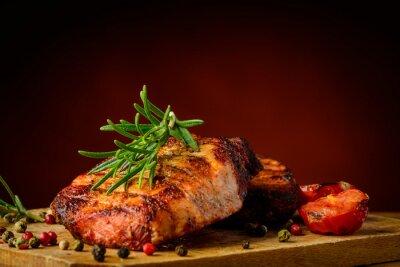 Fototapeta Mięso z grilla i rozmarynem