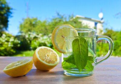 Fototapeta mięty pieprzowej herbata z cytryną