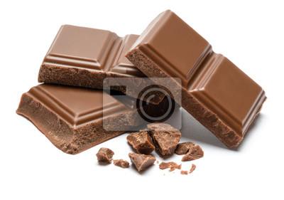 Fototapeta Milk organic chocolate pieces isolated on white background