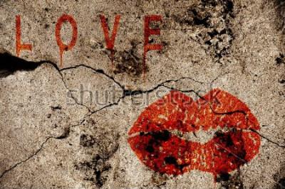 Fototapeta Miłości i buziaka ilustracja na grunge ścianie