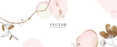 Fototapeta minimal background in pink flowers and tropical summer leaf with golden metallic texture gallery wall art vector