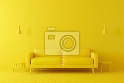 Fototapeta Minimal concept. interior of living yellow tone on yellow floor and background.