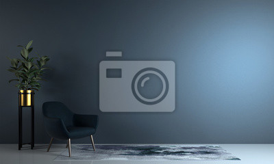 Fototapeta Minimal living room and blue wall texture background interior design / 3D rendering