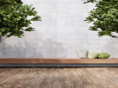 Fototapeta Minimal loft style outdoor terrace 3d render,There are wooden floors, empty concrete walls decorate with long wood bench and green pillow