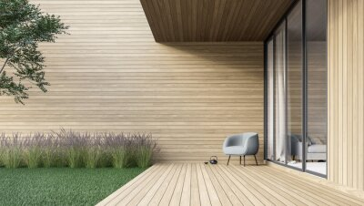 Fototapeta Minimal style wooden terrace with green lawn 3d render,There are empty wood plank wall,decorate with modern gray chair.