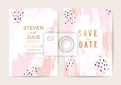 Fototapeta Minimal wedding invitation card design template with pink and rose gold brush texture. vector