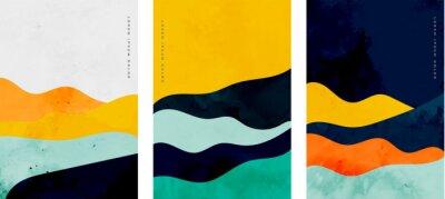 Fototapeta minimalist curve lines shape flyer set of three