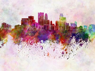 Fototapeta Minneapolis skyline w tle Akwarele
