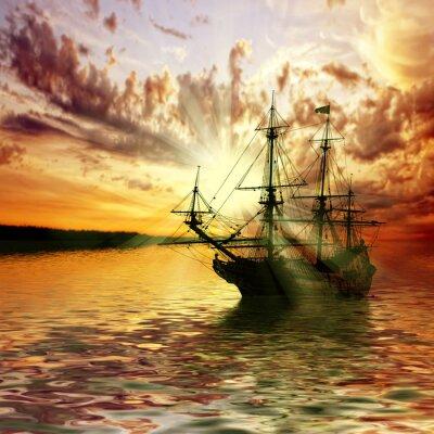 Fototapeta Minx przeciwko piękny zachód słońca krajobraz