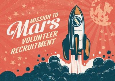 Fototapeta Mission to Mars - plakat w stylu retro vintage z wystartowaniem rakiety. Zużyta tekstura na osobnej warstwie.