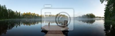 Fototapeta Misty morning in eastern Finland