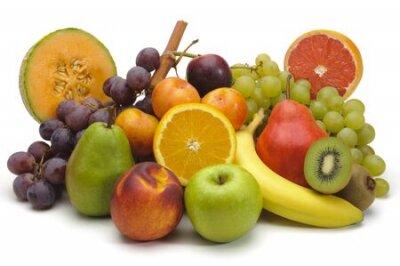 Fototapeta mixed fruit plate on white background